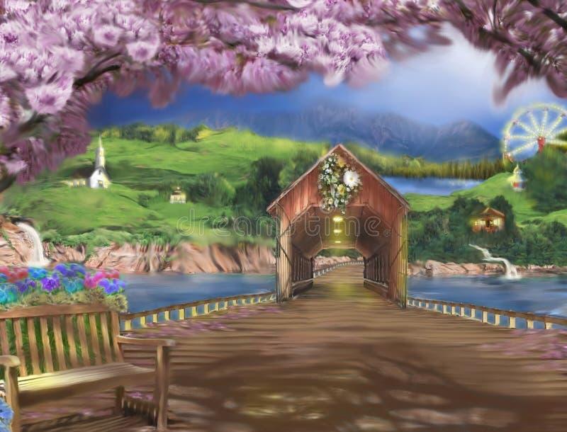 Ajuste nostálgico de un campo con un puente de madera largo stock de ilustración