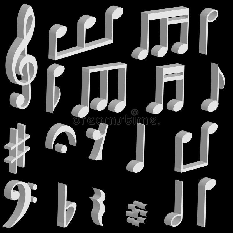 Ajuste notas da música 3d ilustração do vetor