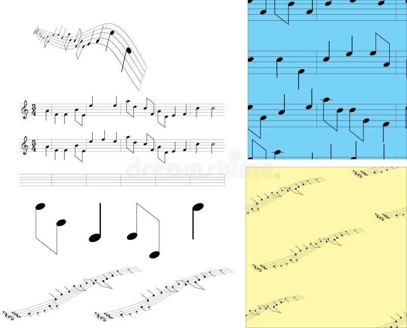 Ajuste notas e símbolos da música ilustração stock