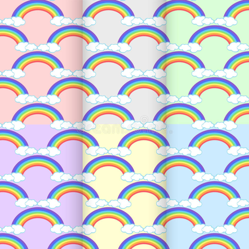 Ajuste a nuvem do arco-íris Sumário sem emenda do teste padrão no colo do fundo ilustração do vetor