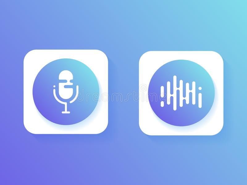 Ajuste o ícone, o assistente pessoal e o reconhecimento de voz Botão do microfone do ícone e som das ondas ilustração royalty free