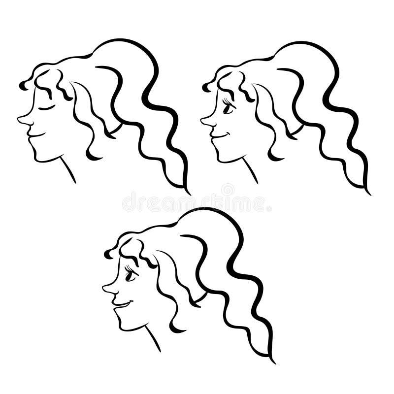 Ajuste o ícone da emoção do contorno da cara da mulher Ilustração do vetor ilustração stock