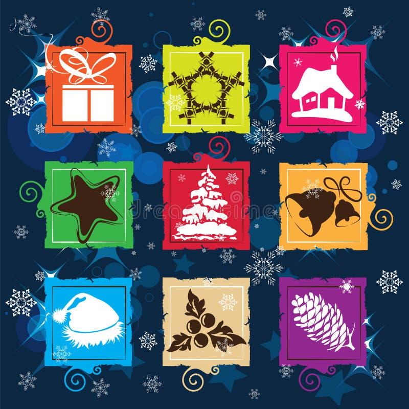 Ajuste o ícone do Natal do vetor, fundo sem emenda ilustração stock