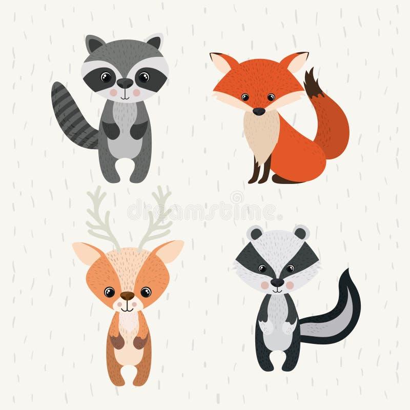 Ajuste o ícone dos animais selvagens da floresta dos animais ilustração stock