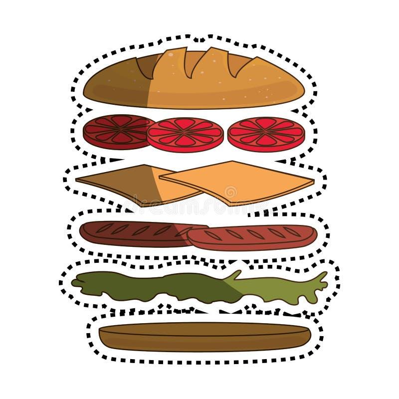 Ajuste o ícone dos ingredientes do sanduíche ilustração stock
