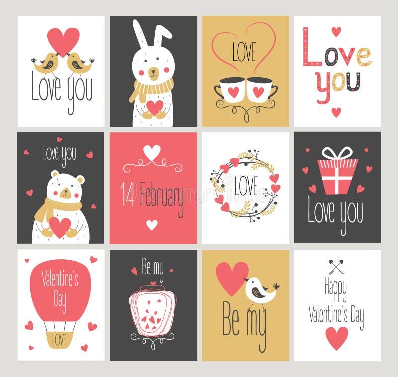 Ajuste o amor e cartões românticos Dia do `s do Valentim ilustração do vetor