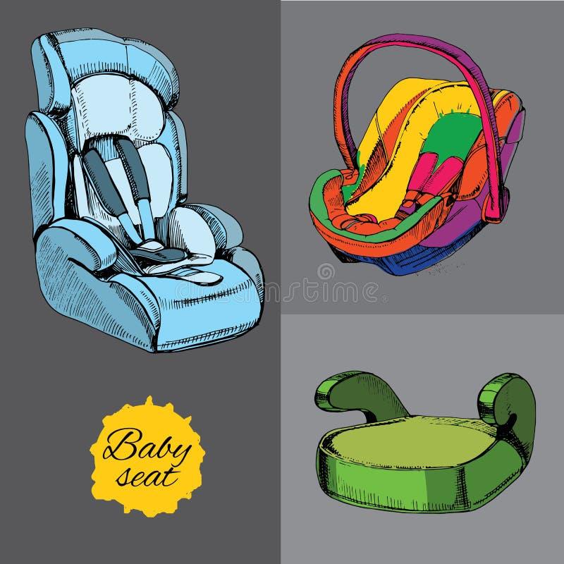 Ajuste o assento do bebê para o carro Todas as categorias, infante, criança e aluno ilustração do vetor