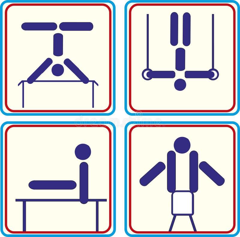 Ajuste o atleta ginástico do esporte Ícones do vetor ilustração royalty free
