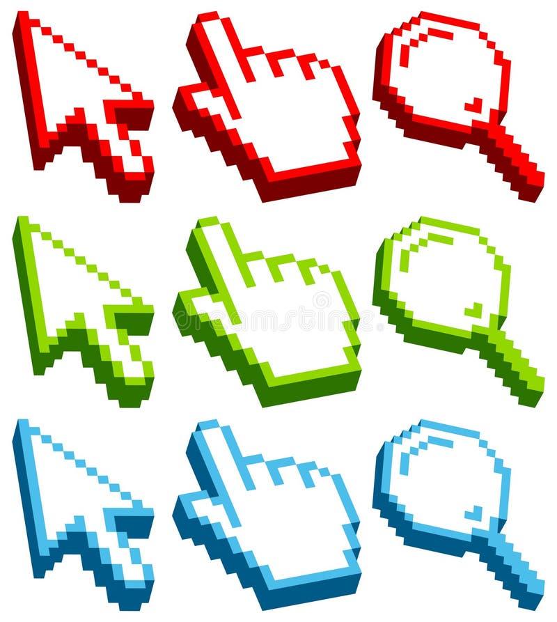 Ajuste o azul verde vermelho tridimensional dos ícones do cursor ilustração royalty free