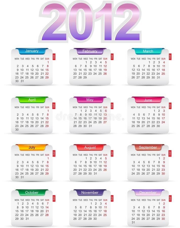 Ajuste o calendário 2012 de doze meses ilustração royalty free