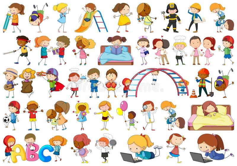 Ajuste o caráter das crianças da garatuja ilustração royalty free