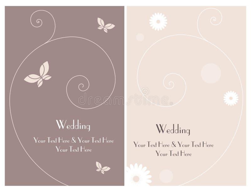 Ajuste o cartão 3 do convite do casamento ilustração do vetor