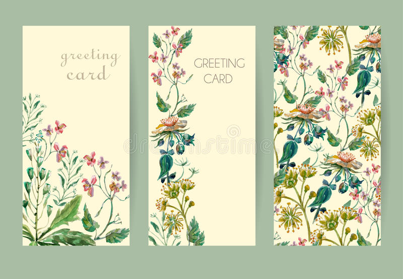 Ajuste o cartão das flores ilustração royalty free