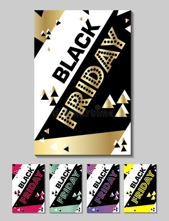 Ajuste o cartaz sexta-feira preta de compra inseto moderno na moda do dia do desconto folheto para anunciar ilustração stock