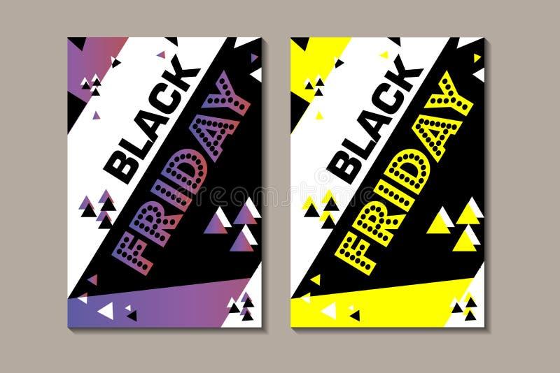 Ajuste o cartaz sexta-feira preta de compra inseto moderno na moda do dia do desconto folheto para anunciar ilustração royalty free