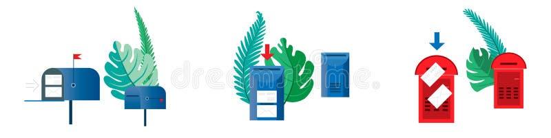 Ajuste o conceito do e-mail Seis caixas postais, vazios e com surro dos envelopes ilustração royalty free