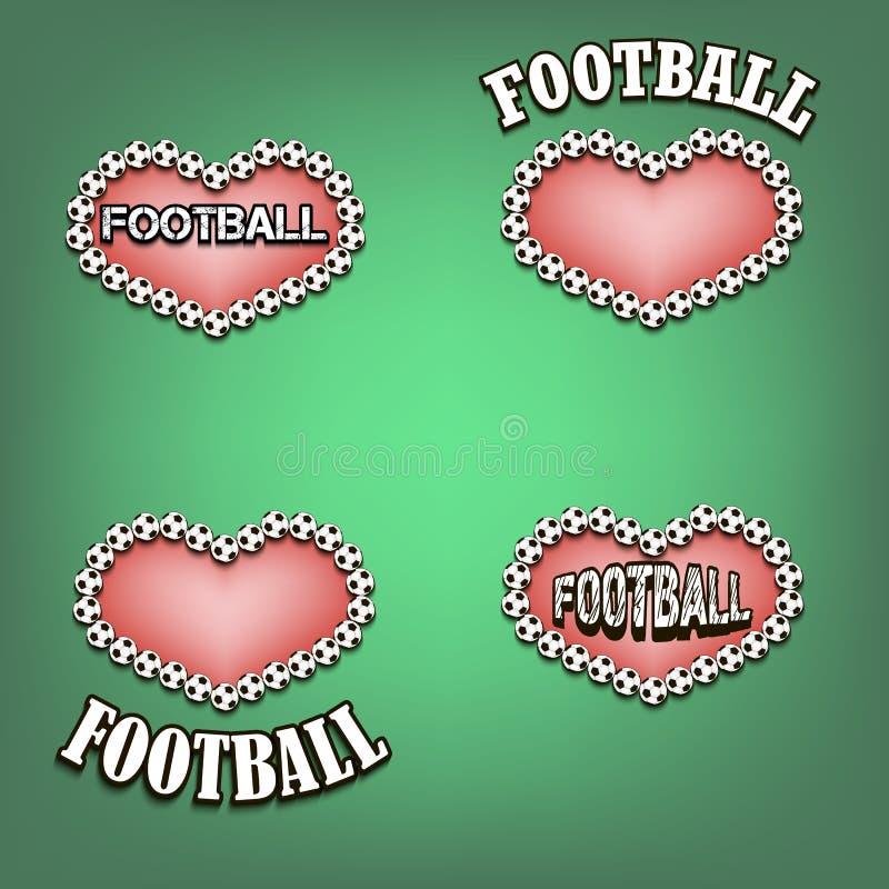 Download Ajuste O Coração Do Bal Do Futebol Ilustração do Vetor - Ilustração de globo, coração: 65577965