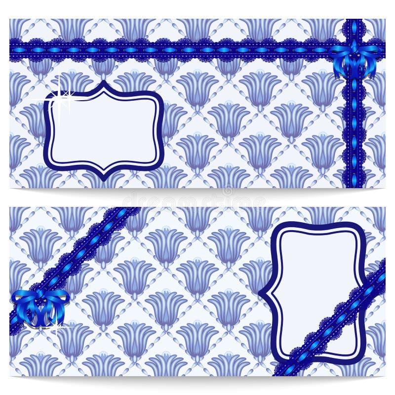 Ajuste o cumprimento ou os vales-oferta do molde com as flores azuis ao estilo das pinturas orientais Curva a céu aberto da fita  ilustração stock