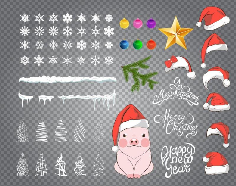 Ajuste o desenho da neve, pendurando sincelos com grupo de 7 tampões vermelhos com pom-poms brancos Grupo de chapéus vermelhos de ilustração royalty free