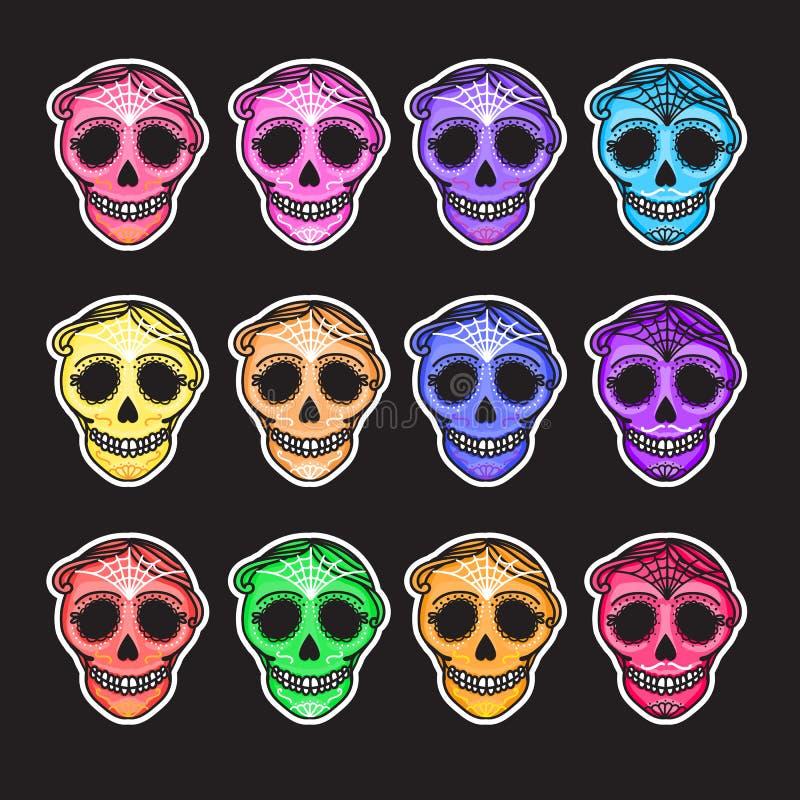 Ajuste o diâmetro de los muertos do sinal de Calavera Dia mexicano dos mortos Etiqueta do homem da ilustração do desenho da mão d ilustração royalty free