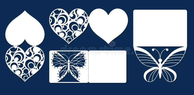 Ajuste o dia do ` s do Valentim do acoplamento do convite do casamento, cumprimentando cartões do feriado ilustração stock