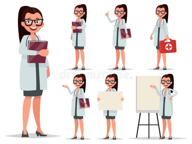 Ajuste o doutor fêmea do caráter em várias poses Elemento para o medica ilustração stock