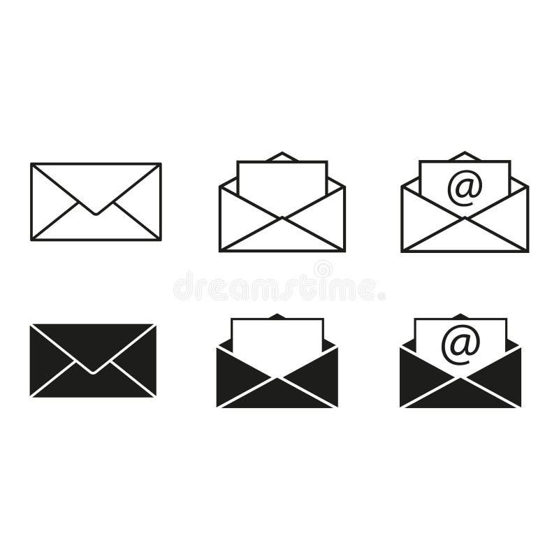 Ajuste o email dos ícones dos envelopes ilustração stock