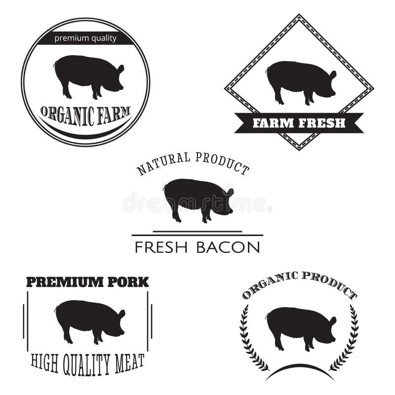 Ajuste o emblema do logotipo da exploração agrícola de porco Exploração agrícola natural e fresca ilustração royalty free