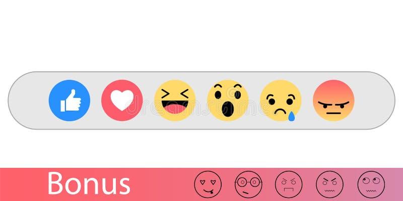 Ajuste o emoji como o ícone social Botão para expressar emoções no Internet Ilustração lisa do vetor ilustração royalty free