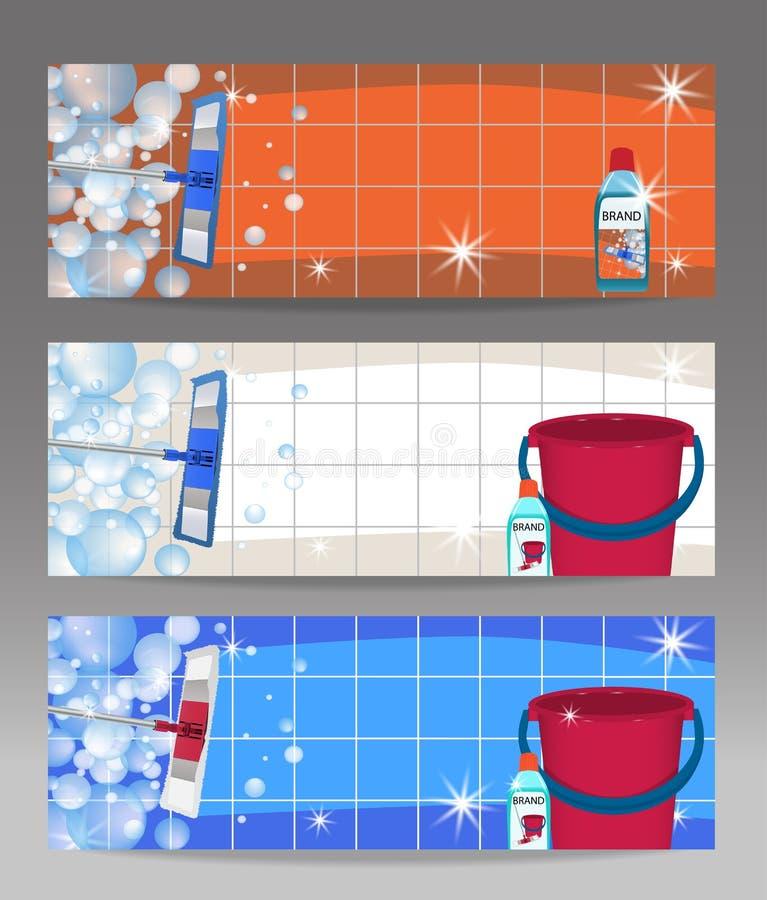 Ajuste o espanador das bandeiras que limpa o assoalho limpo brilhante e a cubeta Líquido de limpeza desinfetante para assoalhos d ilustração royalty free