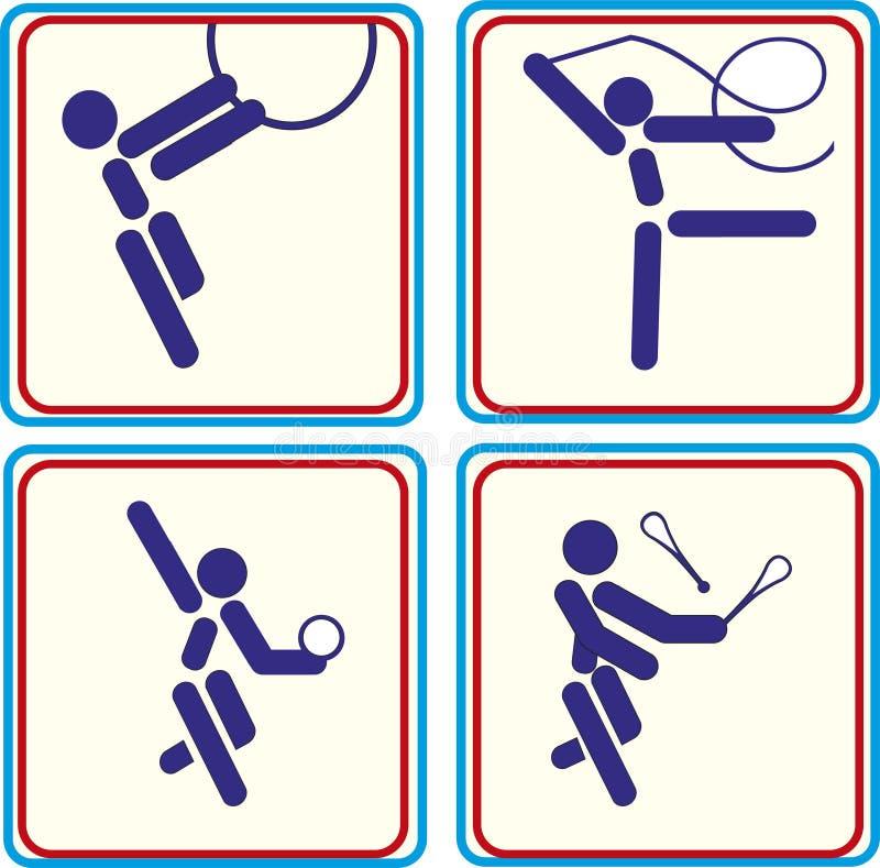 Ajuste o esporte ginástico Ícones da ilustração do vetor ilustração stock