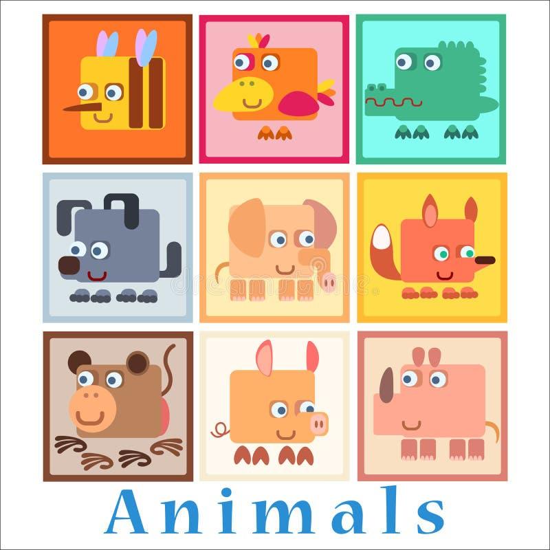 Ajuste o estilo do bebê dos animais ilustração stock