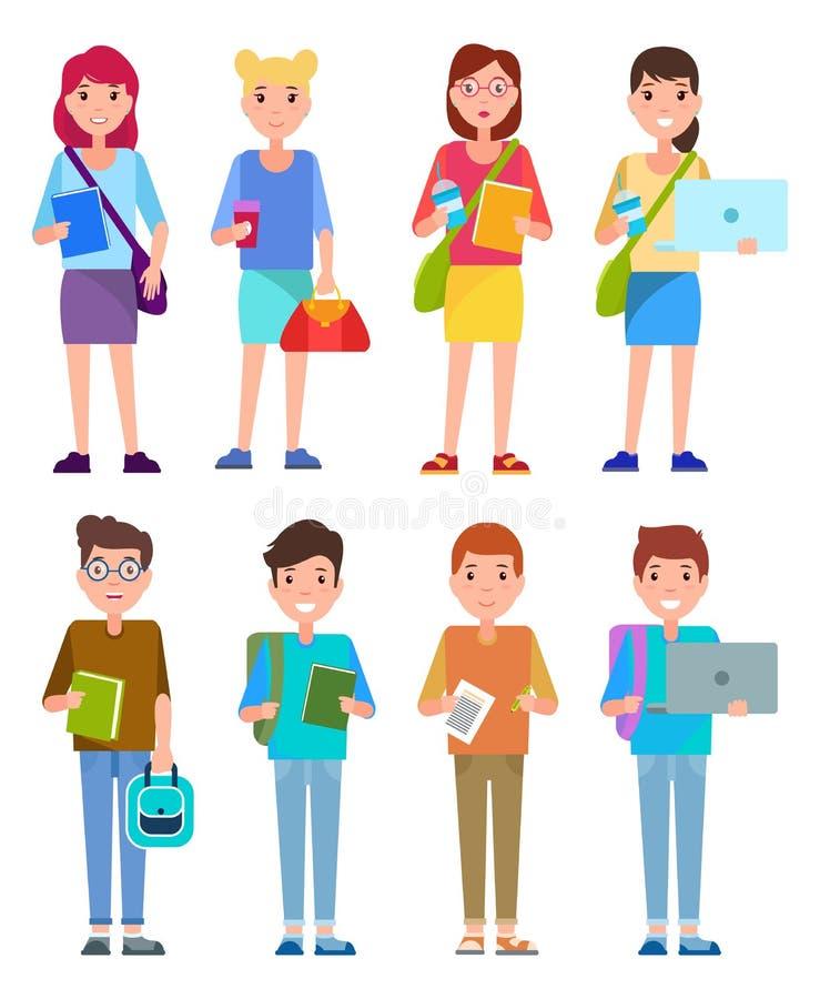 Ajuste o estudante Teenage Girls e o grupo à moda dos meninos ilustração stock