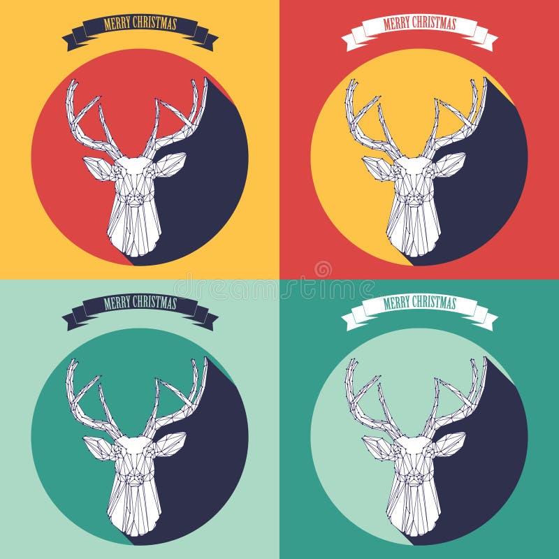 Ajuste o fundo do Natal com cervos ilustração stock