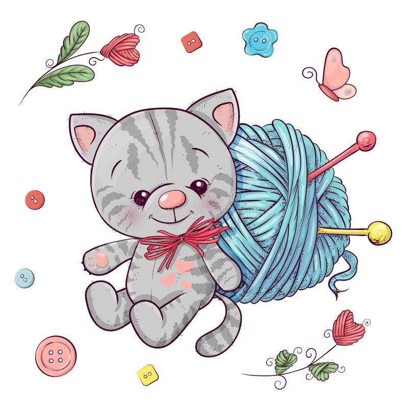 Ajuste o gatinho e uma bola do fio para fazer malha ilustração do vetor