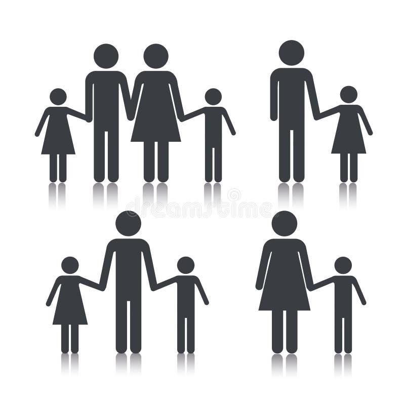 Ajuste o grupo da família do pictograma junto ilustração stock
