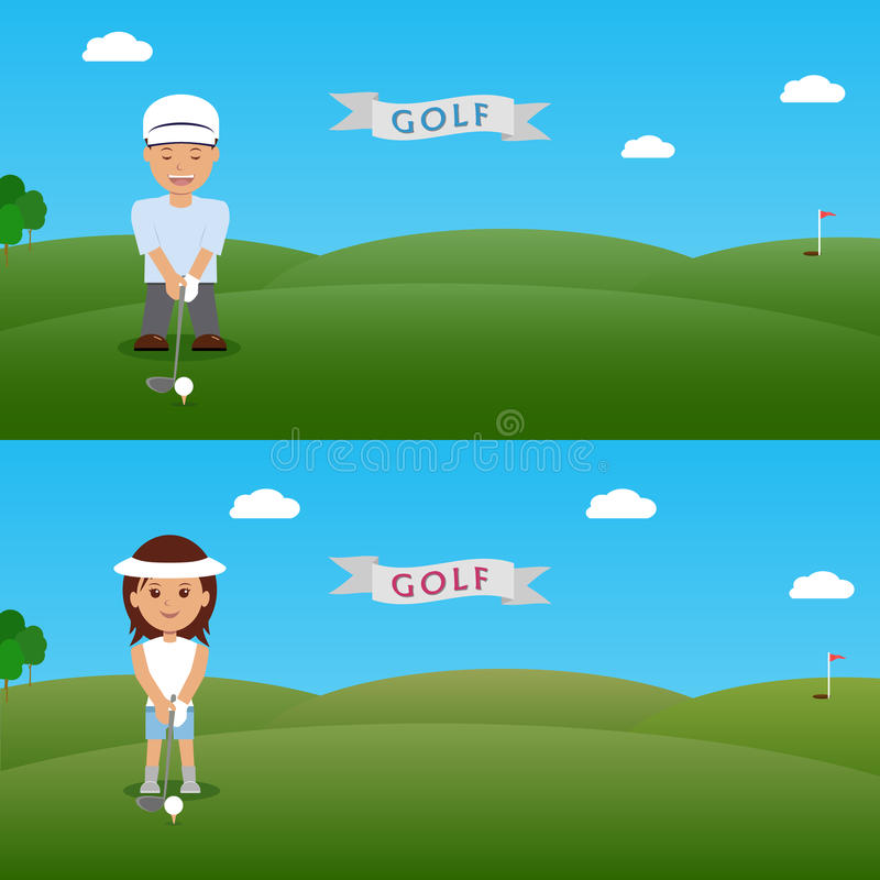 Ajuste o homem da ilustração e o jogador de golfe da mulher ilustração royalty free