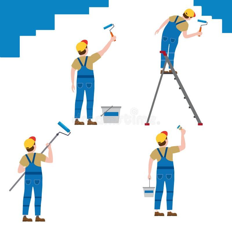 Ajuste o homem dos caráteres do proffessional do pintor no trabalho Pintores masculinos no uniforme que aplica a pintura para mur ilustração royalty free