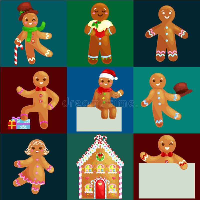 Ajuste o homem e a menina de pão-de-espécie das cookies do Natal perto da casa doce decorada com dança de crosta de gelo e que te ilustração royalty free
