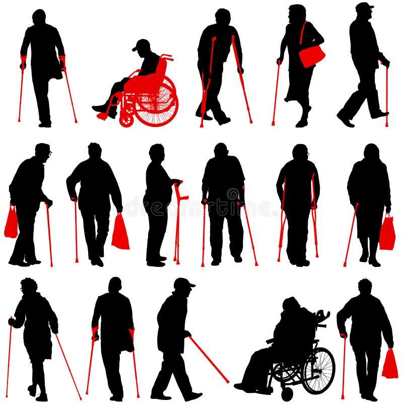 Ajuste o ilhouette dos deficientes motores em um fundo branco Ilustração do vetor ilustração royalty free