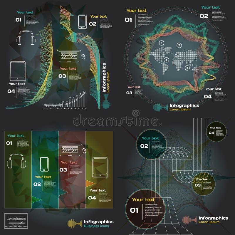 Ajuste o infographics com ondas sadias em um fundo escuro ilustração royalty free