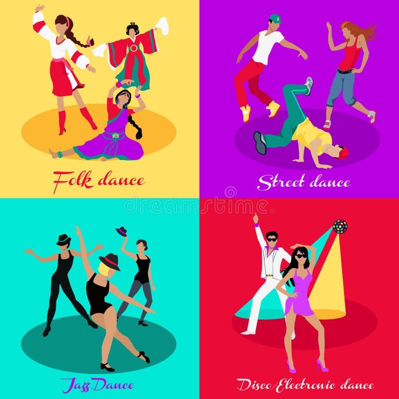 Ajuste o jazz e o disco da dança popular da rua ilustração royalty free