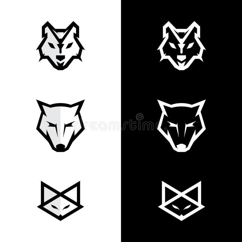 Ajuste o logotipo da cara da raposa e do lobo do logotipo fotografia de stock