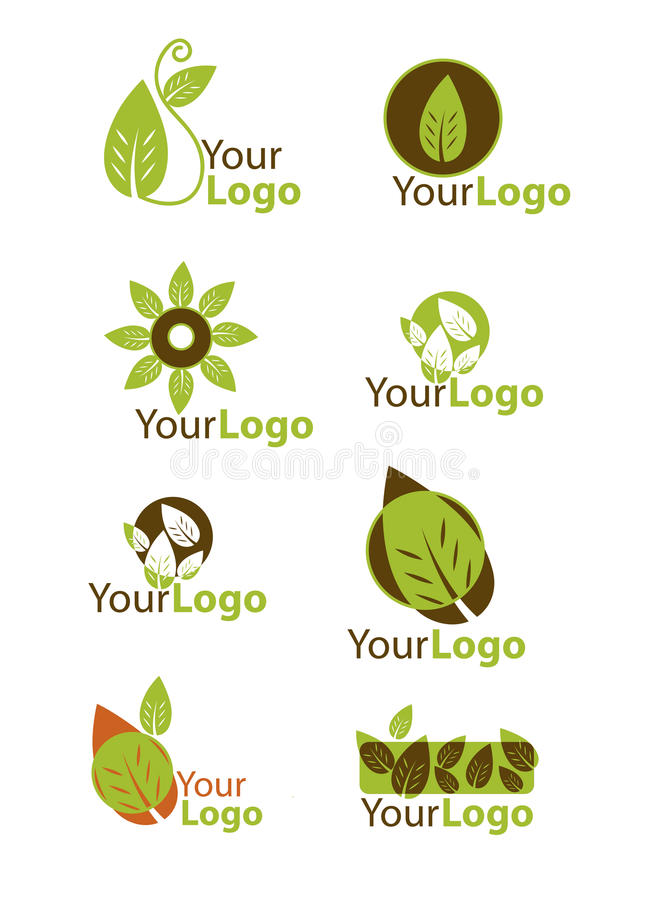 Ajuste o logotipo da folha ilustração royalty free