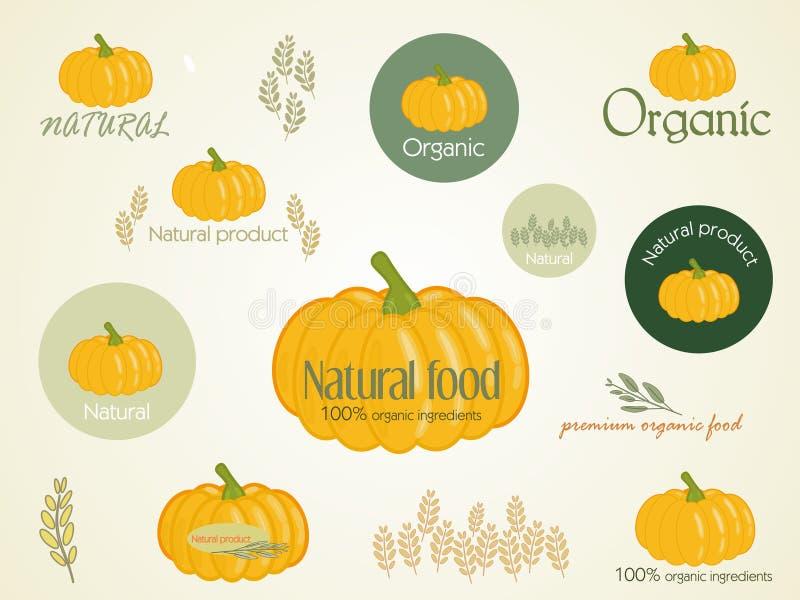 Ajuste o logotipo para o alimento organicamente crescido, vetor ilustração do vetor
