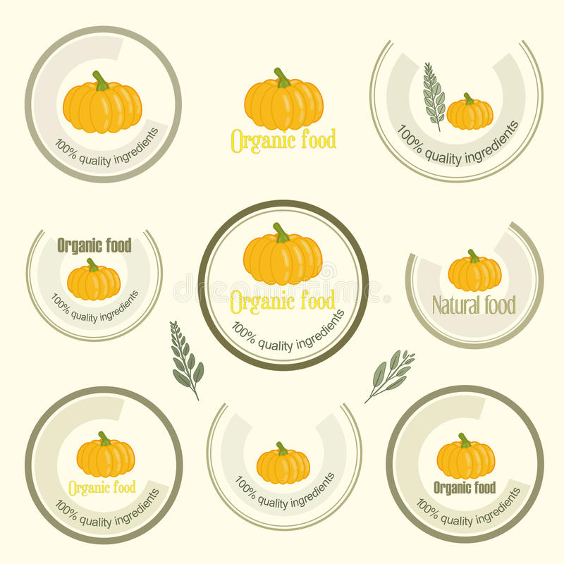 Ajuste o logotipo para o alimento organicamente crescido, vetor ilustração royalty free