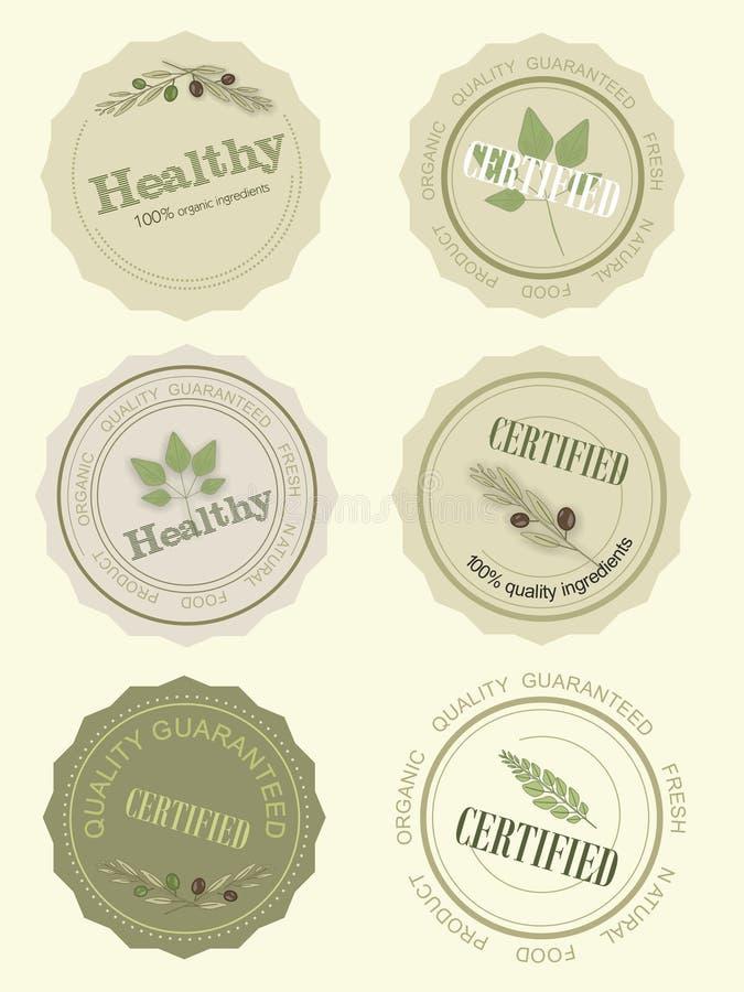 Ajuste o logotipo para um certificado do alimento natural, vetor ilustração royalty free