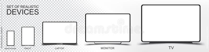 Ajuste o modelo de dispositivos realísticos Smartphone, tabuleta, portátil, monitor e tevê em um fundo transparente e branco Veto ilustração stock