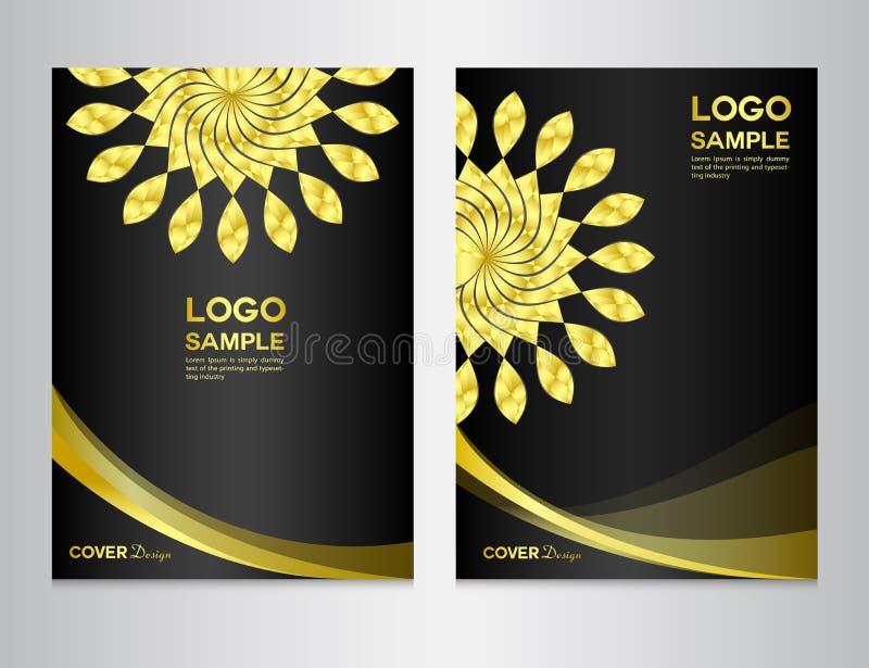 Ajuste o molde do projeto da tampa da flor do ouro ilustração do vetor
