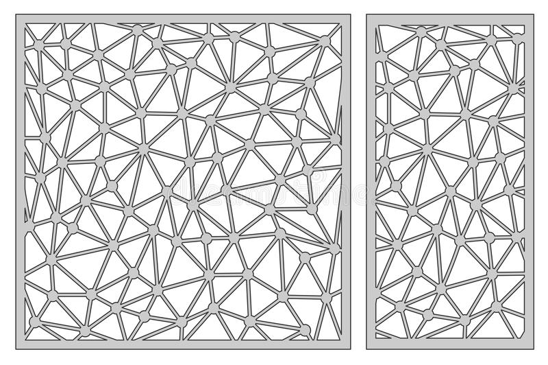 Ajuste o molde para cortar Linha abstrata teste padrão Corte do laser Rati ilustração stock